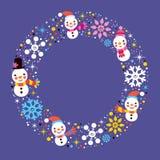 Fond de bonhomme de neige de Noël et de frontière de cadre de cercle de vacances d'hiver de flocons de neige Photographie stock libre de droits
