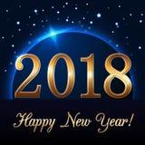 Fond de bonne année avec la pluie et le globe magiques d'or Nombres d'or 2018 sur l'horizon Lumière de conception de planète de N Image libre de droits