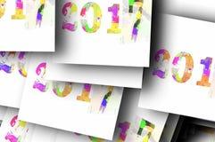 Fond 2017 de bonne année Calibre de calendrier Colorée, l'éclaboussure de main sur recouvrir surface le fond Carte de voeux Image stock
