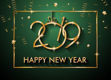 Fond de 2019 bonnes années pour vos insectes et Gree saisonniers Images libres de droits