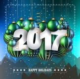 Fond de 2017 bonnes années pour vos insectes saisonniers Image libre de droits