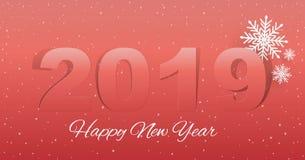 Fond de 2019 bonnes années pour vos invitations orientées saisonnières d'insectes et de carte de voeux ou de Noël Vecteur illustration libre de droits
