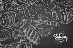 Fond de boulangerie de dessin de craie Vue supérieure des produits de boulangerie illustration stock