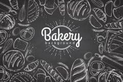 Fond de boulangerie de dessin de craie Vue supérieure des produits de boulangerie illustration de vecteur