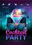 Fond de boule de disco Affiche de cocktail de disco Images stock