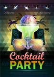 Fond de boule de disco Affiche de cocktail de disco sur la triangle b Photo stock