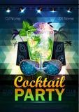 Fond de boule de disco Affiche de cocktail de disco sur la triangle b Photographie stock