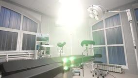 Fond de bourdonnement de chariot de salle d'opération moderne à l'hôpital banque de vidéos