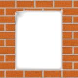 Fond de brique avec une feuille de papier Images libres de droits