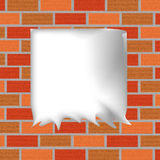 Fond de brique avec une feuille de papier Photographie stock