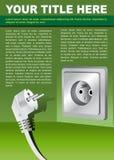 Fond de brochure de vecteur avec la fiche électrique Images stock