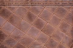 Fond de Brown de point piqué par texture en cuir photo stock