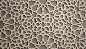 Fond de Brown Vecteur islamique d'ornement, motiff persan éléments ronds islamiques de modèle de 3d Ramadan géométrique Photo libre de droits