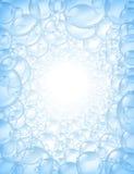 Fond de bulles dans le point de vue avec la lueur centrale illustration de vecteur