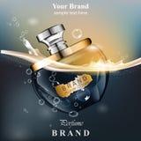 Fond de bulles de l'eau de bouteille de parfum La moquerie réaliste de conception d'emballage d'or de produit de vecteur se lève Photo stock