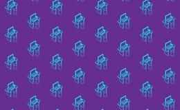 Fond de bureau d'ordinateur sans couture, bannière de technologies numériques, illustration linéaire isométrique de concept Photo stock