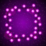 Fond de célébration avec la guirlande des ampoules Image stock