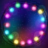 Fond de célébration avec la guirlande des ampoules Photo libre de droits