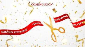 Fond de célébrations d'ouverture officielle avec des confettis d'or photographie stock libre de droits