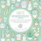 Fond de cactus décrit par vecteur Photographie stock