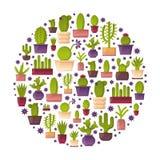 Fond de cactus d'usine de maison de bande dessinée de vecteur Images libres de droits