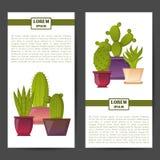 Fond de cactus d'usine de maison de bande dessinée de vecteur Image libre de droits