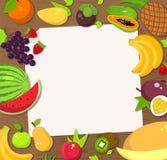 Fond de cadre de fruit frais Carte, invitation, plaquette, calibre de bannière, plat Photos stock