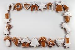 Fond de cadre de Noël des pains d'épice Photographie stock libre de droits