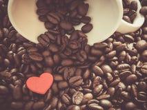 Fond de café, de tasse et de coeur Image stock