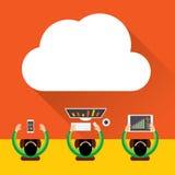 Fond de calcul de nuage plat Technologie de réseau de stockage de données, contenu multimédia de concept de vente de Digital, et  illustration libre de droits