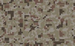 Fond de camo de pixel Configuration sans joint de camouflage Texture militaire Couleur brune de désert illustration libre de droits