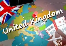 Fond de carte de concept de voyage du Royaume-Uni avec des avions, billets illustration de vecteur