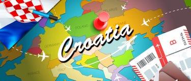 Fond De Carte Concept Voyage La Croatie Avec Des Avions Billets