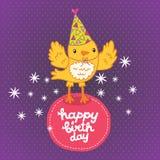 Fond de carte de joyeux anniversaire avec un oiseau. Photo libre de droits