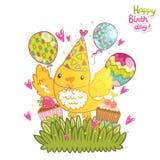 Fond de carte de joyeux anniversaire avec un oiseau. Photos libres de droits