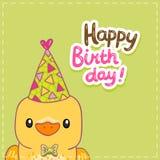 Fond de carte de joyeux anniversaire avec un oiseau Image stock