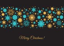 Fond de carte de Joyeux Noël avec des flocons de neige et le deco d'or illustration libre de droits