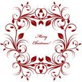 Fond de carte de voeux de Noël avec le modèle rouge de flourish sur le blanc illustration libre de droits