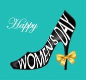 Fond de carte du jour des femmes heureuses avec la chaussure de dames illustration stock