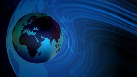 Fond de carte du monde Un globe du monde sur le fond bleu illustration de vecteur