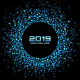 Fond de carte de la nouvelle année 2019 Vacances de Noël Cadre de vacances de cercle de confettis Réception bleue Illustration de illustration stock