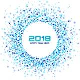 Fond de carte de la nouvelle année 2018 La vue tramée légère bleue de cercle utilisant des confettis entourent la texture de poin illustration de vecteur