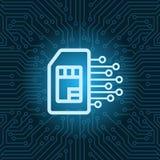 Fond de carte mère de circuit de Sim Card Icon Over Blue Image stock