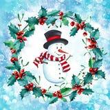 Fond de carte de Noël ou de nouvelle année avec le bonhomme de neige peint à la main d'aquarelle photo libre de droits