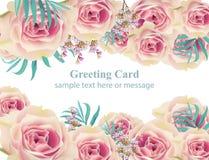 Fond de carte de vecteur de rose de blanc Bonnes fêtes calibres floraux Image stock