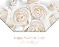 Fond de carte de vecteur de roses blanches Calibres floraux de Saint Valentin heureux Images libres de droits