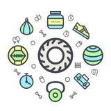 Fond de cercle de formation de Crossfit dans la ligne style plate pour votre copie ou site Web Photos libres de droits
