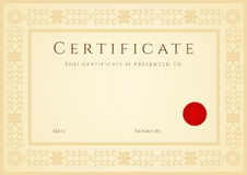 Fond de certificat/diplôme (calibre). Vue Photo libre de droits