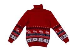 Fond de chandail tricoté par rouge avec la conception traditionnelle Photographie stock