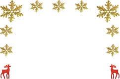 Fond de Chrismas avec le flocon de neige et le renne Photographie stock libre de droits